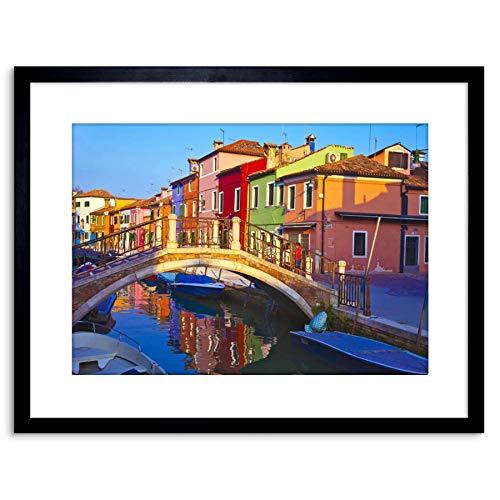 The Art Stop Photo Cityscape Venice Italy BURANO Bridge Canal Framed Print F97X5504
