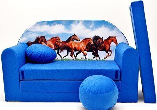 Pro Cosmo C29 Kinder-Schlafsofa mit Sitzkissen, Stoff, Mehrfarbig, 168 x 98 x 60 cm, Baumwolle