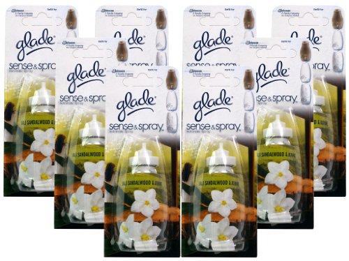 Glade Sense and Spray Lot de 8 recharges Senteur Santal et jasmin de Bali 18 ml