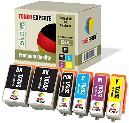 Pack de 6 XL TONER EXPERTE® Compatibles 202 202XL Cartuchos de Tinta para Epson Expression Premium XP-6000, XP-6005, XP…