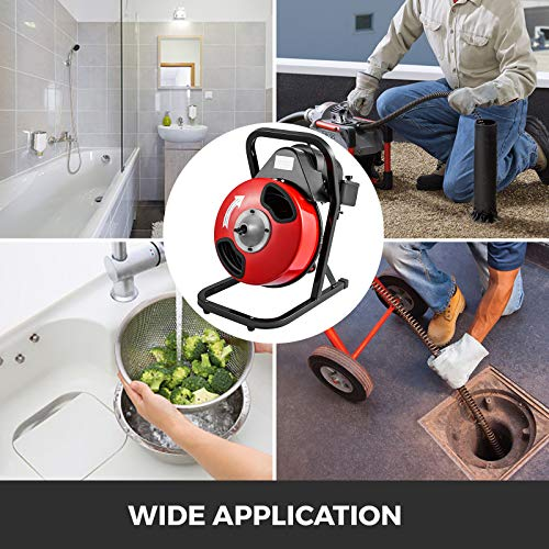 """VEVOR 50FTx1/2Inch Drain Cleaner Machine Electric Drain Auger with 4 Cutter & Foot Switch Drain Cleaner Machine Sewer Snake Drill Drain Auger Cleaner for 1"""" to 4"""" Pipes"""