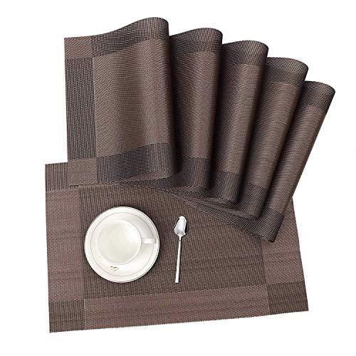 ISIYINER Hitzebeständiges waschbares rutschfestes PVC-Tischset für Haus und Restaurant 6 Pack Braun