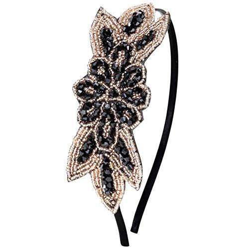 ArtiDeco 1920s Stirnband Damen Haarreif Gatsby Kostüm Accessoires 20er Jahre Flapper Haarband (Stil2 - Schwarz)