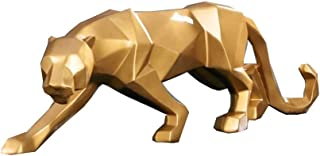 Abstract Black Panther Sculpture Figurine Handicraft Home Desk Decor Geometric Resin Wildlife Leopard Statue Craft (Gold)