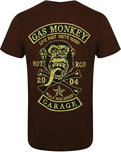 Gas Monkey Garage T-Shirt Patch Braun-XXL