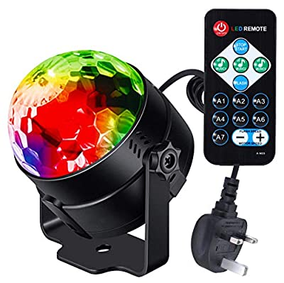Litake Disco Ball, Remote Control DJ Lights 3W 7 Colours Strobe Light Sound Activated Party Lights For Xmas Party Pub Wedding Club Show (1 Pack)