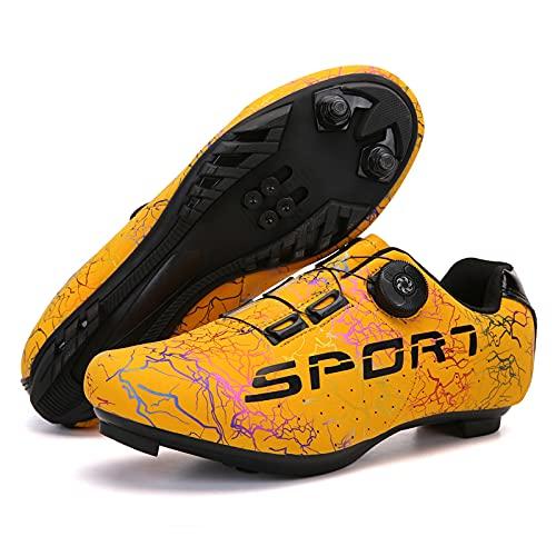 CHUIKUAJ Zapatillas de Ciclismo Zapatillas de Bicicleta MTB para Hombre y Mujer Zapatillas de Spinning con Tacos Compatibles Peloton,Yellow-40EU