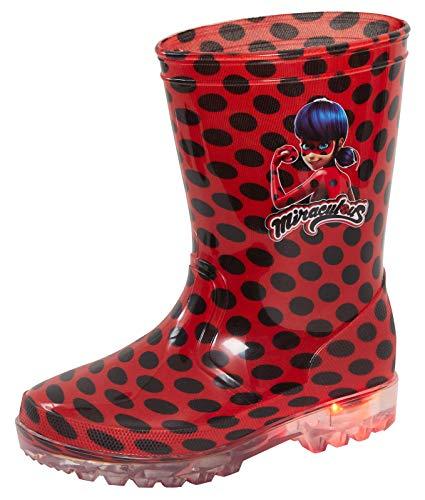 Miraculous Ladybug Mädchen leuchtende Gummistiefel Kinder blinkende Schneestiefel Regenstiefel, Rot - schwarz / rot - Größe: 31 EU