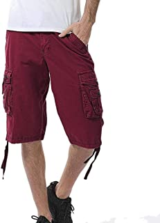 Discount Season Multi-Pockets Casual Shorts Cargo Pants Men Relaxed Outdoors Pure Color Beach Trousers
