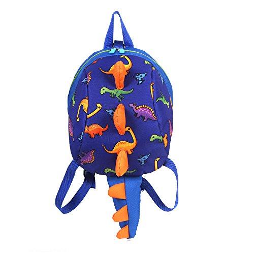 WINGMO Cute Animal Kindergarten Backpack Kids Bolsa de Hombro Satchel Zoo Dinosaurio Bolsa de Escuela Animales Mochilas Infantiles para los Niños Niñas Preescolar Guardería Años 2-4 (Azul Oscuro)