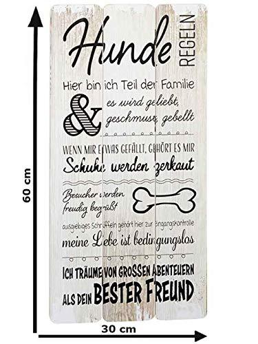 itsisa Plankenschild Hunde Regeln, Wandbild mit coolen Hundesprüchen, Holzbild Hund