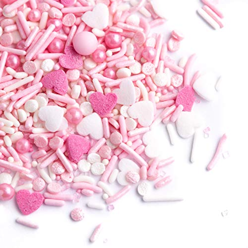 Sweets Indeed Sprinklefetti - Heart Sprinkle Mix - Gluten-Free Sprinkles for Baking - Valentines Day Cookie and Cake Topper - Pretty in Pink - 6.25 ounces