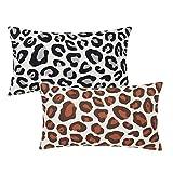 Wadiga Set de 2 Cojines Animal Print Leopardo marrón y Negro de algodón Natural y poliéster de 50x30 cm - LOLAhome