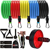 """FITNESS INDIAâ""""¢ AB Roller & Resistance Bands -Set of 11 Pieces (Combo) for Exercise Stretching & Workout Toning Tube Kit with Foam Handles, Door Anchor Ankle Strap & Carrying Bag (Multicolour)"""