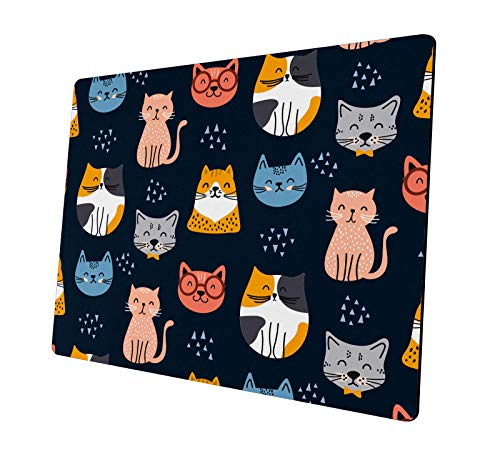 Cute Mouse Pad, Colorful Cat Natural Rubber Non-Slip Rectangle Mouse Pads, Home Office Computer Gaming Mousepad Mat 9.5x7.9x0.12 inches