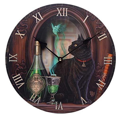 Puckator - Reloj de pared, diseño de gato negro