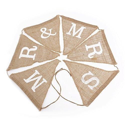 ROSENICE MR MRS Articles de Fête Parti Bannière Mariage Bunting Bannière Photo Booth Burlap Hessienne Garland Bridal Shower
