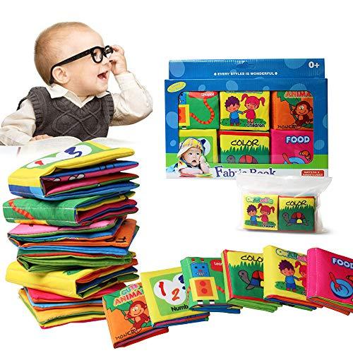 Libro de Cognición del bebé (6 PCS),Wholethings Desarrollo de inteligencia Animal Cloth Libro Aprendizaje y actividad Juguetes para niños Bebé