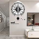 Redondo Péndulo Reloj De Pared Moderno Grande Silencioso Reloj con Péndulo Reloj De Pared Simple En Blanco Y Negro para Salón Decorativo,50x60cm (20x24 Inch)