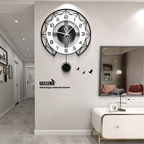 Redondo Péndulo Reloj De Pared Moderno Grande Silencioso Reloj con Péndulo Reloj...