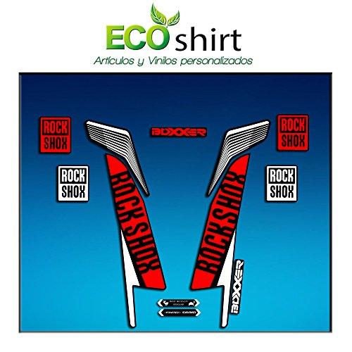 Ecoshirt JE-0R0L-FZY1 Aufkleber Fork Rock Shox Boxxer World Cup 2016 Am77 Aufkleber Sticker Gabel Weiß Rot