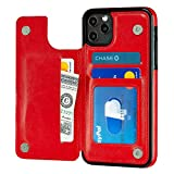S-Tech iPhone 11 Pro Max (6.5 inch) Wallet Case with Card Holder, Leather Kickstand Card Slots Case, Double Magnetic Clasp and Durable Shockproof Cover for iPhone 11 6.5 Inch (red)