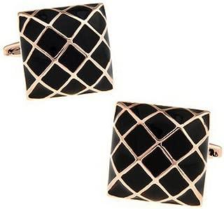Bullidea 1 Pair Fashion Men's Cufflinks Gold Mesh Shirt Cufflinks Cuff Links Mens Dress Business Wedding Cufflinks Gift Present(Black)