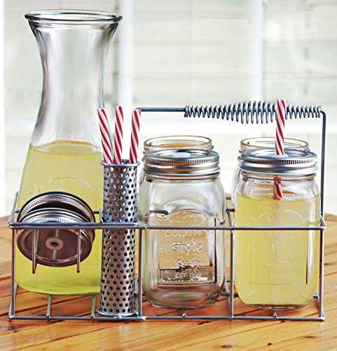 Circleware Country Entertaining Set, 4 Glass Mason Jar Drinking Glasses with Metal Lids and Hard Plastic Straws 17 oz, 1 Beverage Pitcher Caraffe 33.8 oz and Metal Caddy Holder