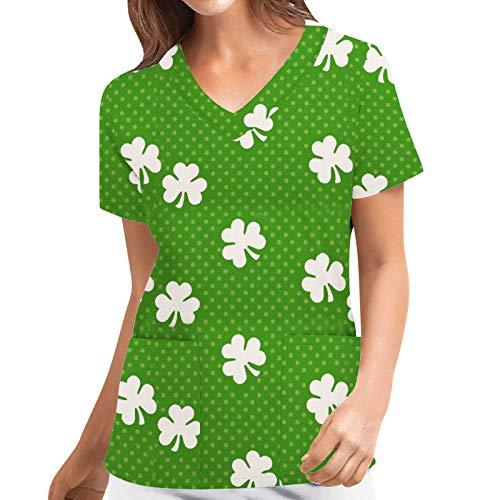 Scrub Tops - Camiseta de manga corta para mujer con cuello en V Verde_2 XXXL