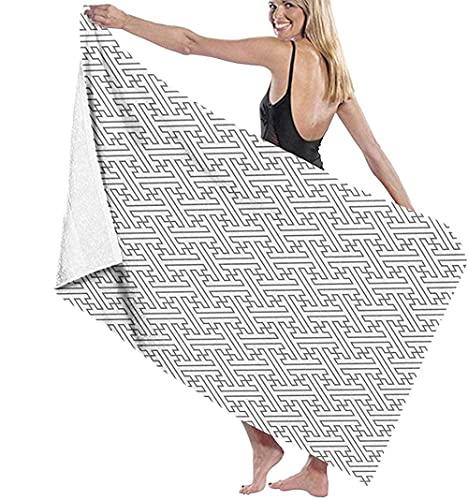 Toalla de Playa Las Toallas de baño Grandes con Estampado de líneas Simples en Gris y Blanco Son livianas y Muy adecuadas para Salidas Familiares, natación y Deportes de Fitness 80 × 130 cm