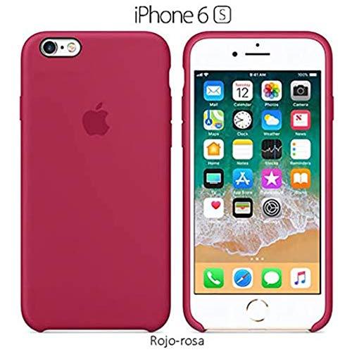 Funda Silicona para iPhone 6 y 6s Silicone Case, Calidad, Textura Suave, Forro Interno Microfibra (Rojo-Rosa)