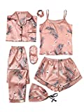 SheIn Women's 7pcs Pajama Set Cami Pjs with Shirt and Eye Mask Pink Crane Medium