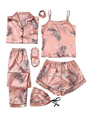 SheIn Women's 7pcs Pajama Set Cami Pjs with Shirt and Eye Mask Pink Crane X-Large