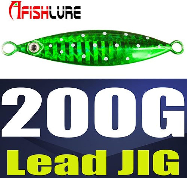 CUSHY Afishlure Metal Jigging Spoon 20g 40g 60g 80g 100g 150g 200g Metal Jigging LuresJig Slow Sinking HardBoat Fishing  200gGreen