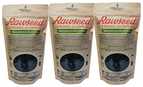 Rawseed Black Lentils Organic Certified 6 lbs, 3 Pack 2 lbs Non Gmo.