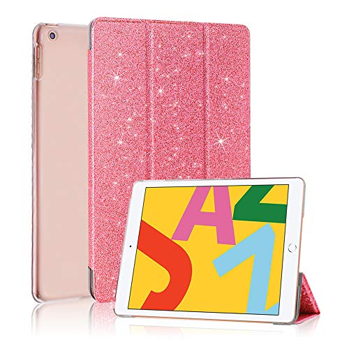 FSCOVER iPad Case 9.7 inch 2018/2017 6th/5th Generation, Sparkle Slim Trifold Stand Flip Smart Cover with Auto Sleep/Wake for Apple iPad 9.7' 2018/2017, Pink