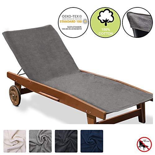 Beautissu Marbella XL Handtuch für Liegestuhl mit Antirutschfunktion Sporthandtuch mit Befestigung für Geräte Oeko TEX Frottee Schonbezug Sonnenliege Handtuch 70x200cm Grau