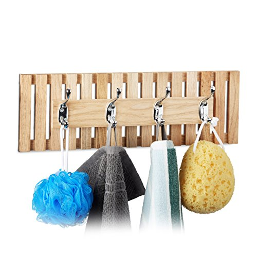 Relaxdays Holz, 4 Doppelhaken, Garderobe, für Bad und Flur, Metall, HxBxT: 14 x 42 x 8, 5 cm, natur Hakenleiste Walnuss, 8.5 x 42 x 14 cm