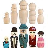 50 Stück unbehandelte Holz-Puppen mit Hut – Chougui Puppenkörper, Peg People Holzklammernfiguren...