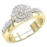 Dazzlingrock Collection 0.45 Carat (ctw) 14K White Diamond Ladies Bridal Engagement Ring Set 1/2 CT, Yellow Gold, Size 4