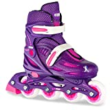 Crazy Skates Adjustable Inline Skates for Girls - Adjusts to fit 4 Shoe