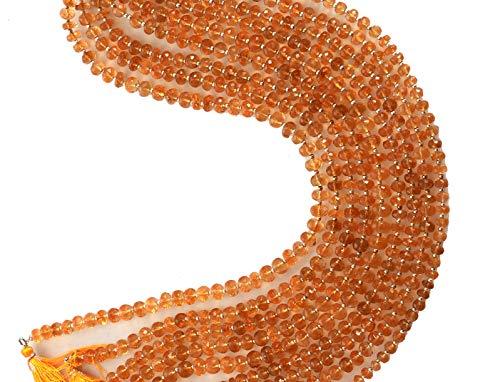 1 filo naturale AAA citrino sfaccettato i branelli di Rondelle | giallo miele 7-8mm borda Rondelle sfaccettati per fare gioielli | 14' | Strand figura rotonda 8 mm Beads | Qualità AAA