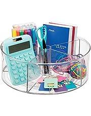 mDesign - Draaiplateau - carrousel/kantoororganizer - voor kantoor en thuis - voor schrijfgerei - met 5 compartimenten - doorzichtig