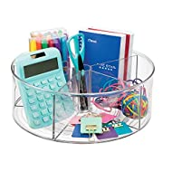 mDesign Spinning Office Supplies Desk Organizer Bin with Dividers for Scissors, Pens, Sticky Notes, Markers, Highlighters - Clear
