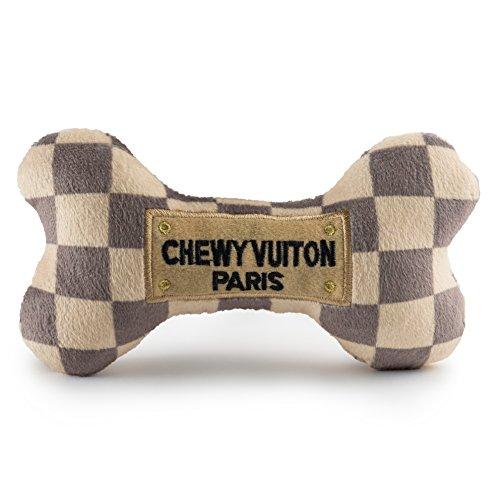 Haute Diggity Dog HDD-008-LG Checker Chewy Vuitton Bone, grande