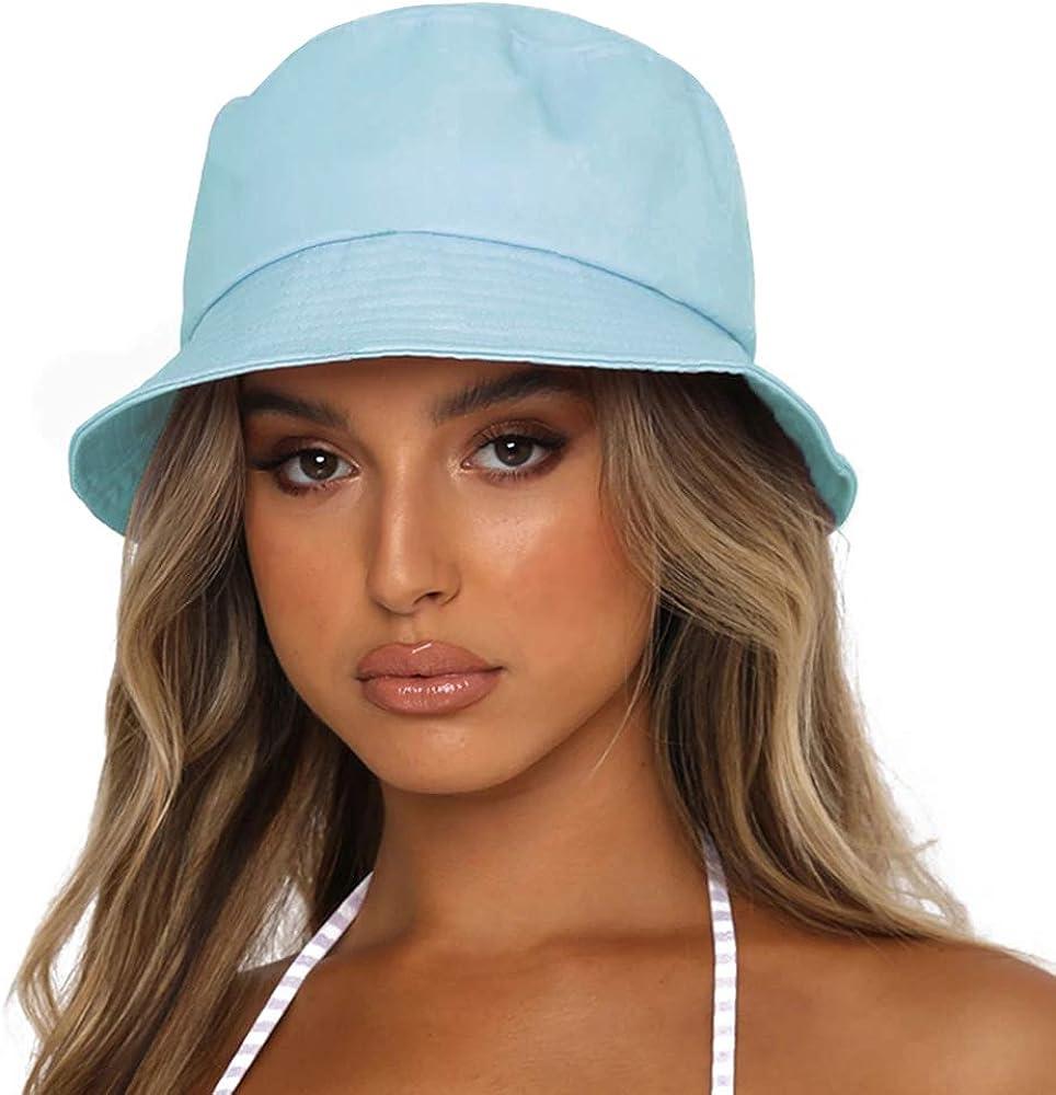 Sydbecs Solid Color Bucket Hat for Women Men, Reversible Cotton Summer Sun Beach Fishing Cap