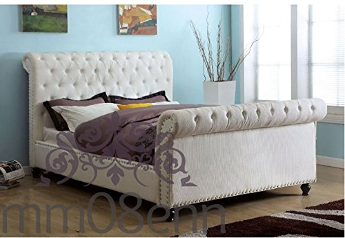 mm08enn Chenille Fabric Upholstered Chesterfield Sleigh Studs Bed frame (Cream, 5ft King Size)