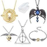 PPX 5 Piezas Conjunto de Collar Time Turner Reliquias de la Muerte Collar de Snitch Dorada Collar mágico con una Corona de Ravenclaw y Pulseras para fanáticos Colección de Regalos o Decoraciones