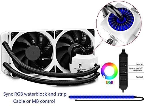 Deepcool Captain 240 EX RGB White Sistema di Raffreddamento Radiatore da 240mm Dissipatore a Liquido RGB Sync 12V 4-Pin Compatibile Intel 115X/2066 e AMD AM4 Pompa RGB e Strip LED RGB