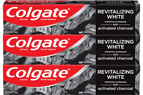Colgate Activated Charcoal Teeth Whitening Toothpaste with Fluoride, Natural Mint Flavor, Vegan - 4.6 ounce (3 Pack)